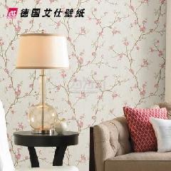 德国艾仕壁纸 美式田园复古树枝叶 卧室客厅背景墙纸壁纸0937纯纸