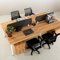 欣瑞源 现代简约 钢木组合 办公隔断桌 2763 长240cm 宽120cm 四人桌含4柜