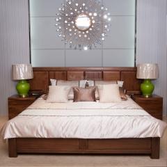 雙喜 胡桃木 床 H011