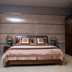 雙喜 實木 臥室四件套 胡桃木床1+床頭柜2+四門衣柜1