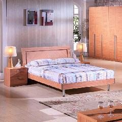 东方百盛胡桃木色中式大床909(含床头柜906)