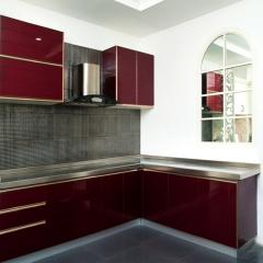 歐卡諾定制不銹鋼臺面 酒紅色 玻璃門板