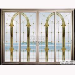 致尚名门 镶嵌工艺玻璃-风景香槟砂金单边套推拉中空铝门 Z-1366 平方米