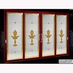 致尚名门 镶嵌工艺玻璃-风景红檀推拉中空铝门 Z-1375 平方米