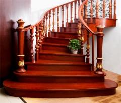 亿连楼梯 实木弧形楼梯 定制楼梯 复式楼梯 琥珀红 1踏步