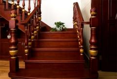 亿连楼梯 实木楼梯 复式楼梯 定制楼梯 红木色 1踏步