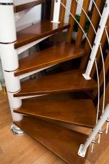 亿连楼梯 单梁钢木楼梯 定制楼梯 复式楼梯 柚木色+白色钢架 1踏步