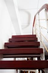 亿连楼梯 双梁单板钢木楼梯 定制楼梯 复式楼梯 富贵红+白色钢架 1踏步