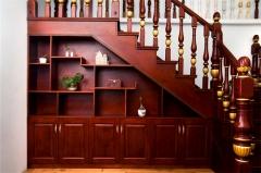亿连楼梯 复式楼梯 定制柜 储物柜 楼梯柜 红木色 1平方米