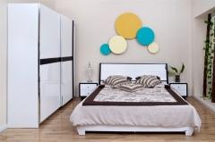 宝莱佳 实木生态板 卧室 红橡木 1.8米床 1E21