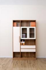 宝莱佳 实木生态板 书房 白蜡木书柜 2M01