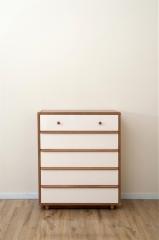 宝莱佳 实木生态板 卧室 白蜡木五斗柜 2M01
