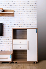 宝莱佳 实木生态板 客厅 白蜡木 双抽 附加柜 2M02
