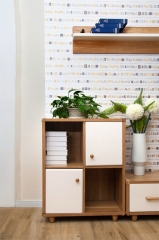 宝莱佳 实木生态板 客厅 白蜡木 双门附加柜 2M02