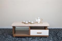 宝莱佳 实木生态板 客厅 白蜡木 大理石台面 茶几 2M02