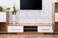 宝莱佳 实木生态板 客厅 白蜡木电视柜 2M02