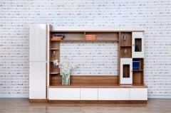 宝莱佳 实木生态板 客厅 白蜡木电视墙 电视柜 装饰柜 2M01