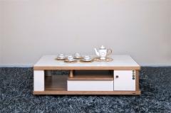 宝莱佳 实木生态板 钢化玻璃 客厅 白蜡木茶几 2M01