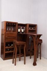 雙喜 胡桃木 客廳 吧臺 吧椅套裝 吧凳 H089 全實木