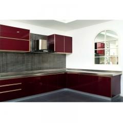 欧卡诺定制不锈钢台面 酒红色 玻璃门板