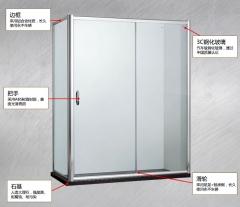 朗斯 梦幻E31淋浴房 定制 L型 方形 钢化玻璃 防爆膜