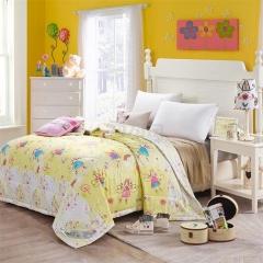 瀚庭 全棉夏凉被 空调被 小魔女 鹅黄色 1.5x2.0m