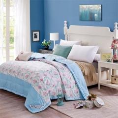 瀚庭 全棉夏凉被 空调被 玛奇朵蓝 花色 1.5x2.0m
