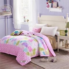 瀚庭 全棉夏凉被 空调被 格情空间 粉色 1.5x2.0m