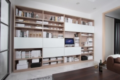 宜科家具 定制新品 简约现代客厅 开赛松木书柜
