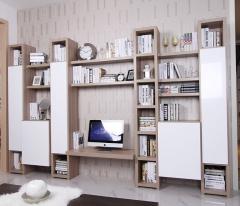 宜科家具 全屋定制 黄橡木电视柜&高光白模压开门