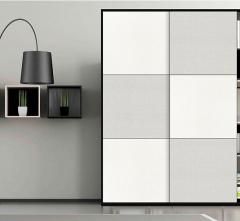 拉迷移门 B715黑烤漆立体暖白白布纹F70三等分