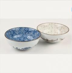 斐亨家居 家居饰品 居家餐具 创意青花瓷碗 米饭碗 汤碗 实用樱花碗套装